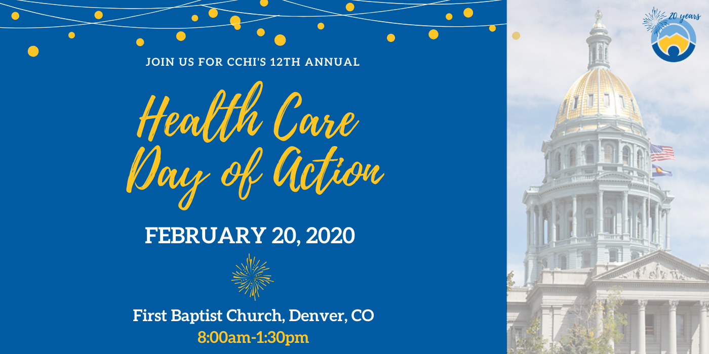 Image of Colorado Capitol that says Health Care Day of Action, February 20, 2020, 8am-1:30pm