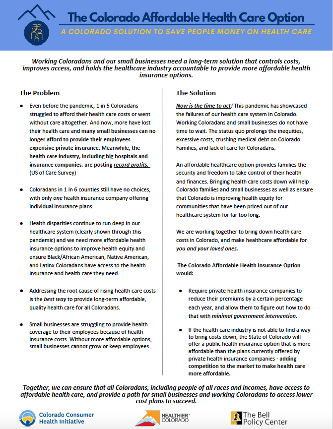 Colorado Option one-pager