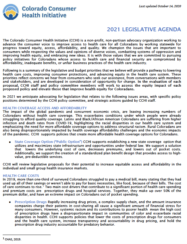 CCHI 2021 Legislative Agenda